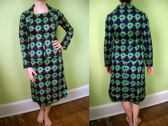 RESERVED 60's Mariko Op Art Suit Dress - Size 4