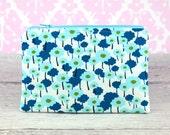 Zipper Pouch, Coin Purse, Card Case, Clutch in Light Dark Blue Poppies in Aqua Pick a Bunch