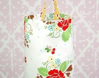 Fabric Plastic Bag Holder - Riley Blake Sew Cherry, Main in White