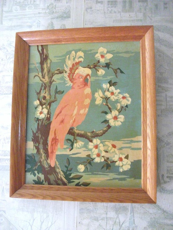 Vintage  Pink Cockatiel Framed Paint by Number Painting