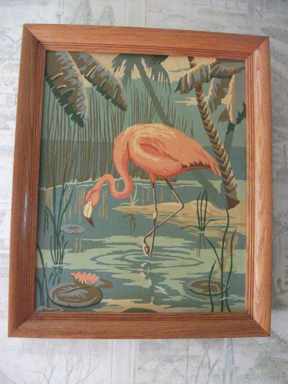 Vintage Pink Flamingo Framed Paint By Number Painting