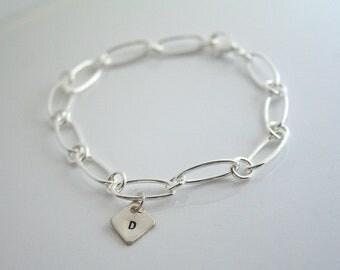Initials, charm, silver, bracelet - INITIAL CHARM BRACELET -Round shaped