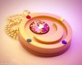 READY TO SHIP Sailor Moon Inspired Season 1 Compact Necklace Laser Cut Acrylic
