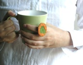 Green and orange felted ring - embroidered textile jewelry - big statement ring