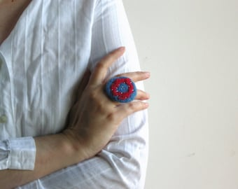 Blue and red felted ring, round embroidered ring, textile jewelry, statement ring, fiber ring, organic eco friendly jewelry, one of a kind