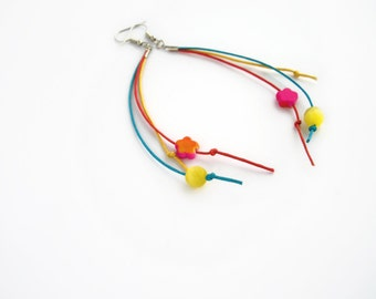 Blue yellow red minimal earrings, long earrings, neon bright, cord and bead earrings, dangle earrings, boho chic jewelry, hippie jewelry