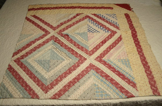 Primitive Red and Yellow Log Cabin Antique Cutter Quilt Piece with Blue Homespun Backing - 31 by 31 Inches