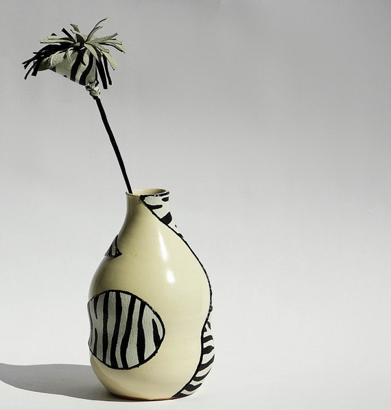 Hand painted Ceramic Vase, Zebra Design, Real Leather, Hand Decorated
