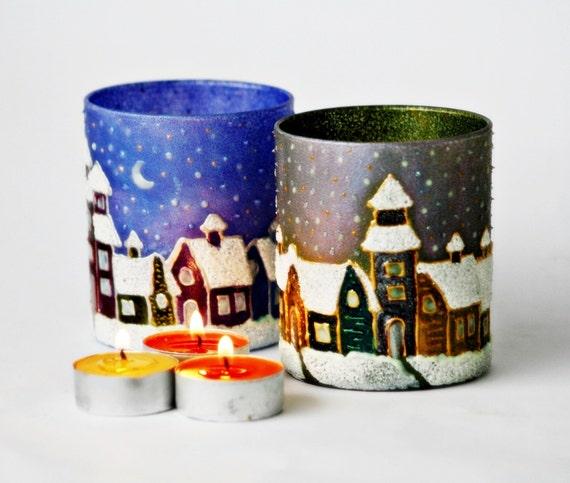 Christmas, Tea Light Candlehoders, Set of 2  Hand Painted  Quiet Winter Night Gift Under 50