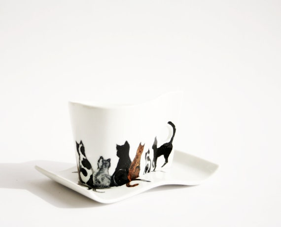Coffee Ceramic Cup Hand Painted Cats