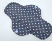 Reusable Cloth Menstrual Pad Gray and Blue Polka Dots with PUL Moderate Flow