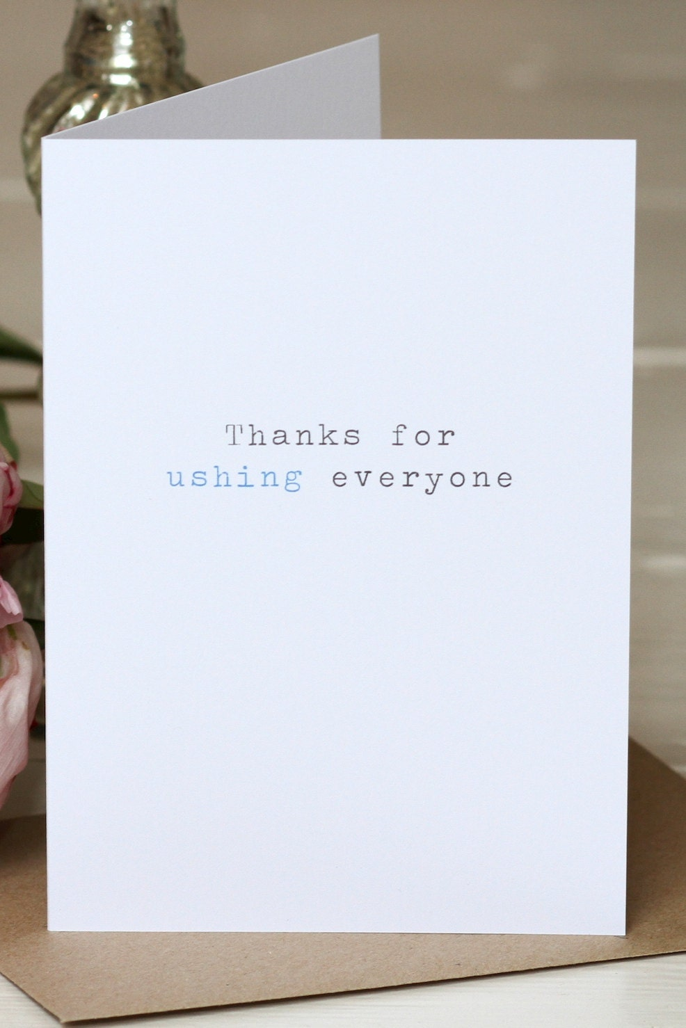 Wedding thank you card 39 thanks for ushing 39 for Tidy buy wedding dresses