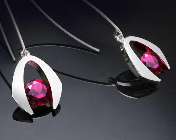 January Birthstone - Rhodolite Garnet - Dangle - Drop Earrings - Eco-Friendly Silver Earrings - Red Earrings - 2425