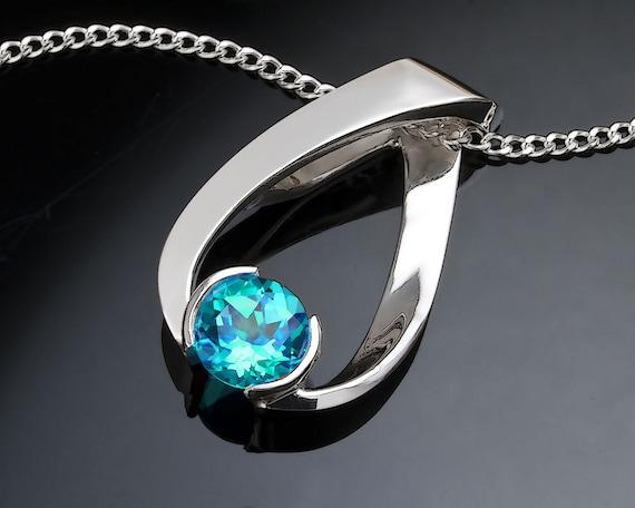 blue topaz necklace december birthstone by verbenaplacejewelry. Black Bedroom Furniture Sets. Home Design Ideas