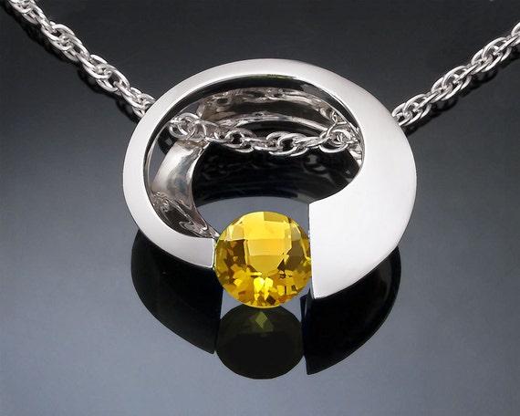 Citrine Pendant - November Birthstone - Yellow - Statement Necklace - Eco-Friendly - Gemstone Pendant - 3394