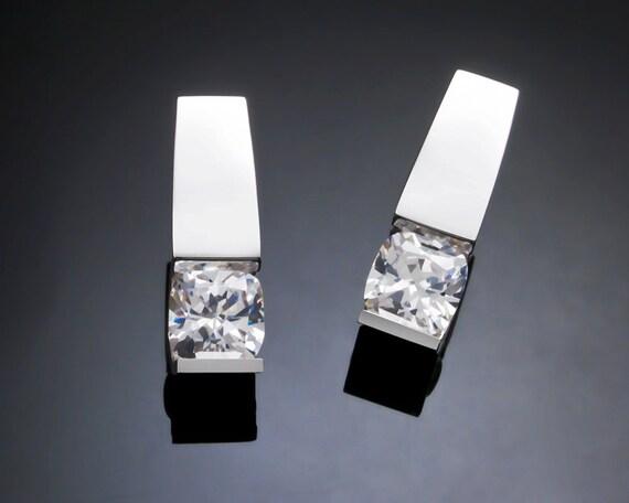 CZ earrings, silver earrings, Argentium silver, holiday earrings, wedding earrings, eco-friendly, modern jewelry, gifts for her - 2431