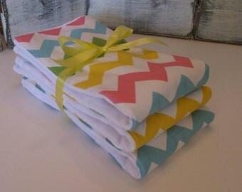 Diaper Burp Cloth set of 3 Premium 6 Ply Cloth Diapers - Chevron prints
