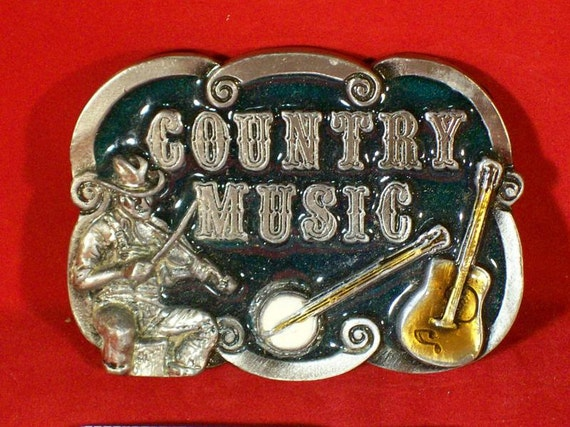 Vintage Pewter Country Music Trophy Belt Buckle