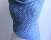 Knitted lace shawl / wrap / scarf, light blue, alpaca / silk blend