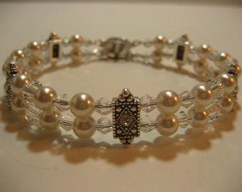 White Bridal Bracelet-Double Strand Swarovski Elements Bracelet,wedding bracelet,bridesmaid gift,bridesmaid bracelet,quinceanera bracelet