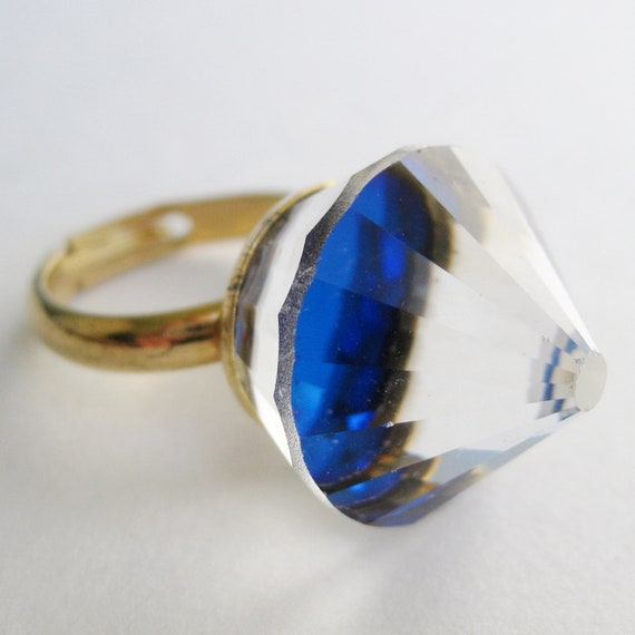 Vintage 50s Gold Faceted Prism Crystal Sparkling Cocktail Dinner Ring Costume Jewelry