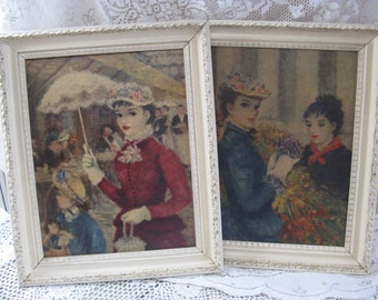 parisian ladies prints painted wooden frames j c huldah hollywood regency french apartment shabby