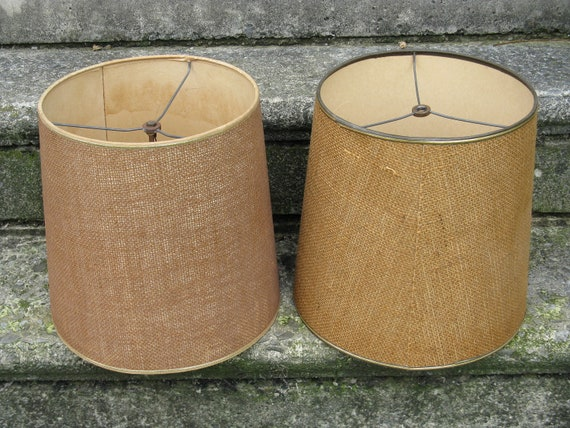 burlap lamp shade set larger size rustic masculine country cabin decor