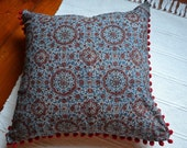 Ethnic handprinted light cotton fabric cushion - blue and red