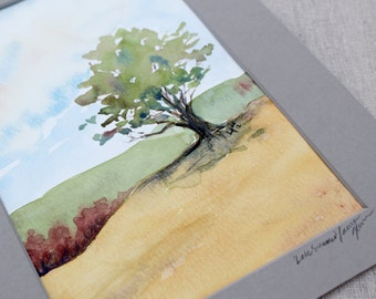 watercolor landscape- Late Summer-  original painting matted to 8x10
