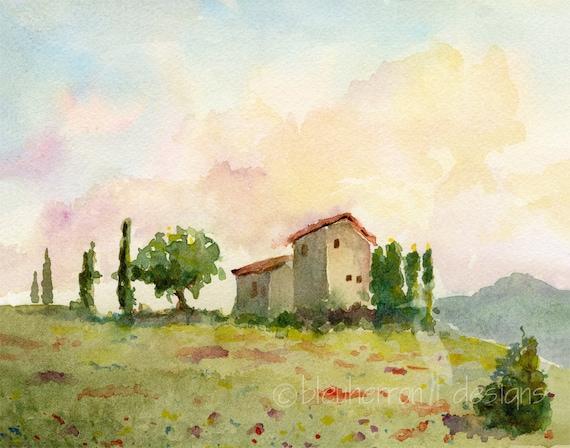 italian landscape- Tuscan Spring- watercolor print