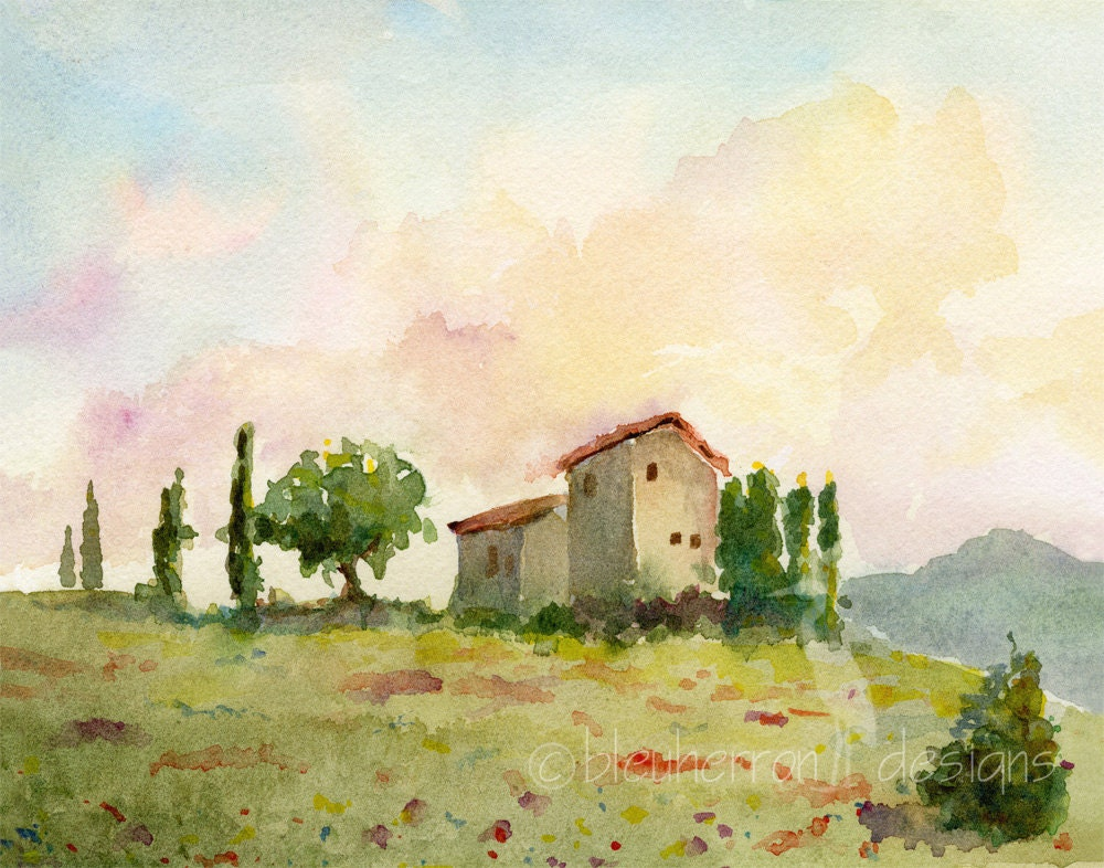 italian landscape Tuscan Spring watercolor print