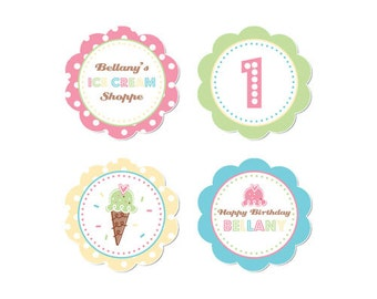 50% Off Sale! - PRINTABLE Pastel ice Cream Party Circles