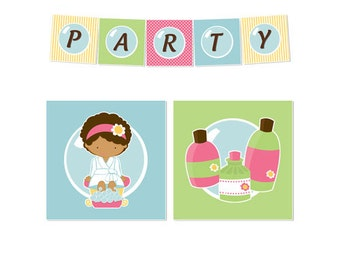 50% Off Sale! - PRINTABLE Spa Party Banners
