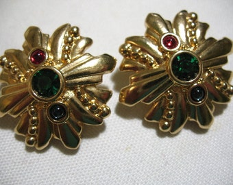 Vintage Swarovski Gold Tone Ear Clips with Glass Cabochons