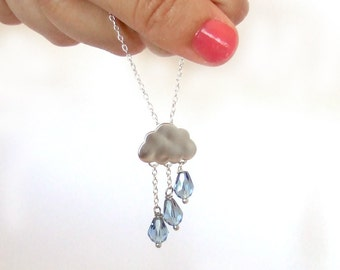 Cloudy rainy day necklace, silver plated chain, with silver rain cloud, and blue rain drops crystals