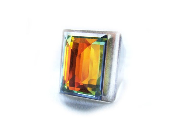 Art Deco Style Color Changing Vintage Swarovski Crystal Ring