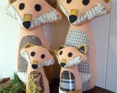 Fox Family of Four - Animal Playset, Customizable Family, Gift for Mom, Made From Salvaged and Re-Purposed Fabrics, Made to Order