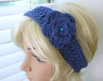 Blue Headband Crocheted with Flower - Crochet Head Band with Flower -  Crochet Headband -  Blue Head Band - Teenager Headband