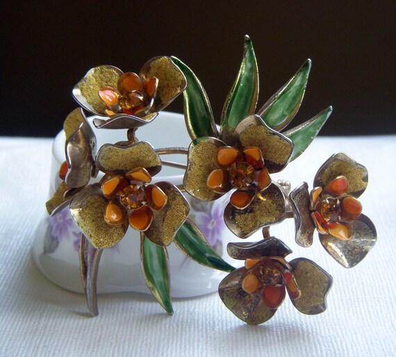 Weiss Enamel  Floral Brooch
