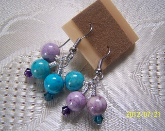 Earrings Wire Wrapped Riverstone Beads and Swarovski Crystal