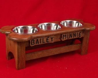 Elevated Large Dog Feeder Solid Oak 10 Inch High Two Quart  FREE NAME and STAIN