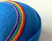Pincushion Embroidered Rainbow brilliant blue handsewn recycled felt made to order
