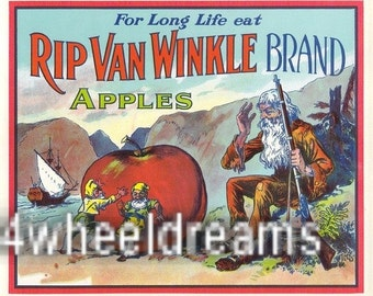 1920s Rip Van Winkle Elves Hudson Valley NY Apple Crate Label