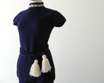 40% Off ST JOHN Suit Designer Vintage Nautical Mod Blue Ivory 60s SALE