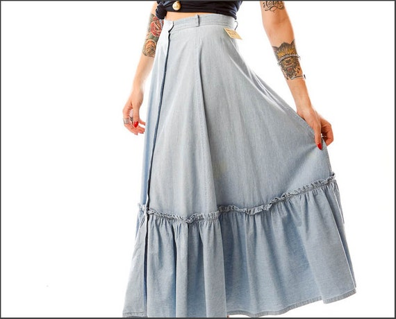 Chambray Denim Button Down Tiered Skirt--M
