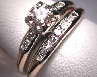 Antique Diamond Wedding Ring Set Vintage Art Deco14K