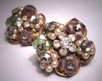 Vintage Pearl Crystal Earrings Robert Miriam Haskell Designer