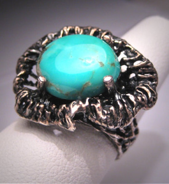 Antique Vintage Turquoise Ring Modernist Mid Century SS