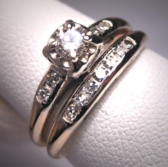 Vintage Wedding Ring Sets: Antique Diamond Wedding Ring Set Vintage Art Deco14K