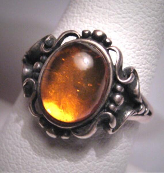 Antique Amber Ring Vintage Victorian Art Nouveau Silver